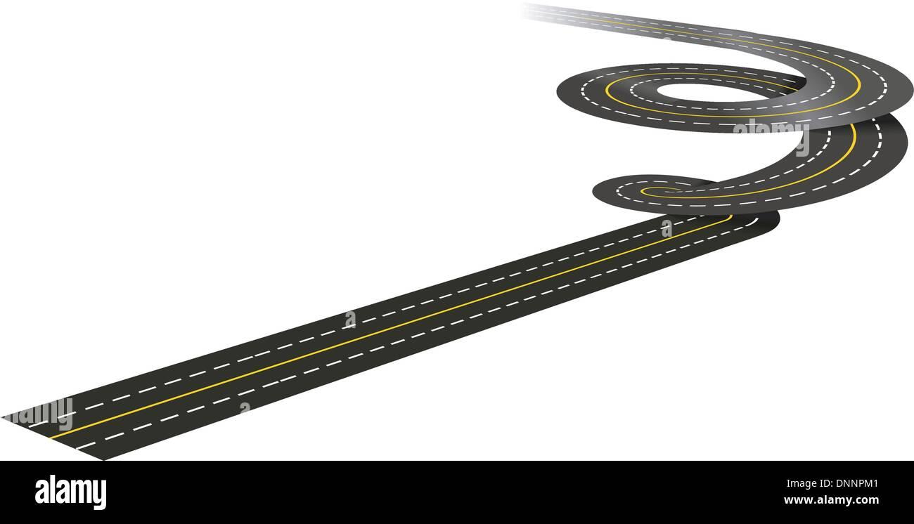 Spirale Straße Konzept Abbildung isoliert auf weißem Hintergrund Stockbild