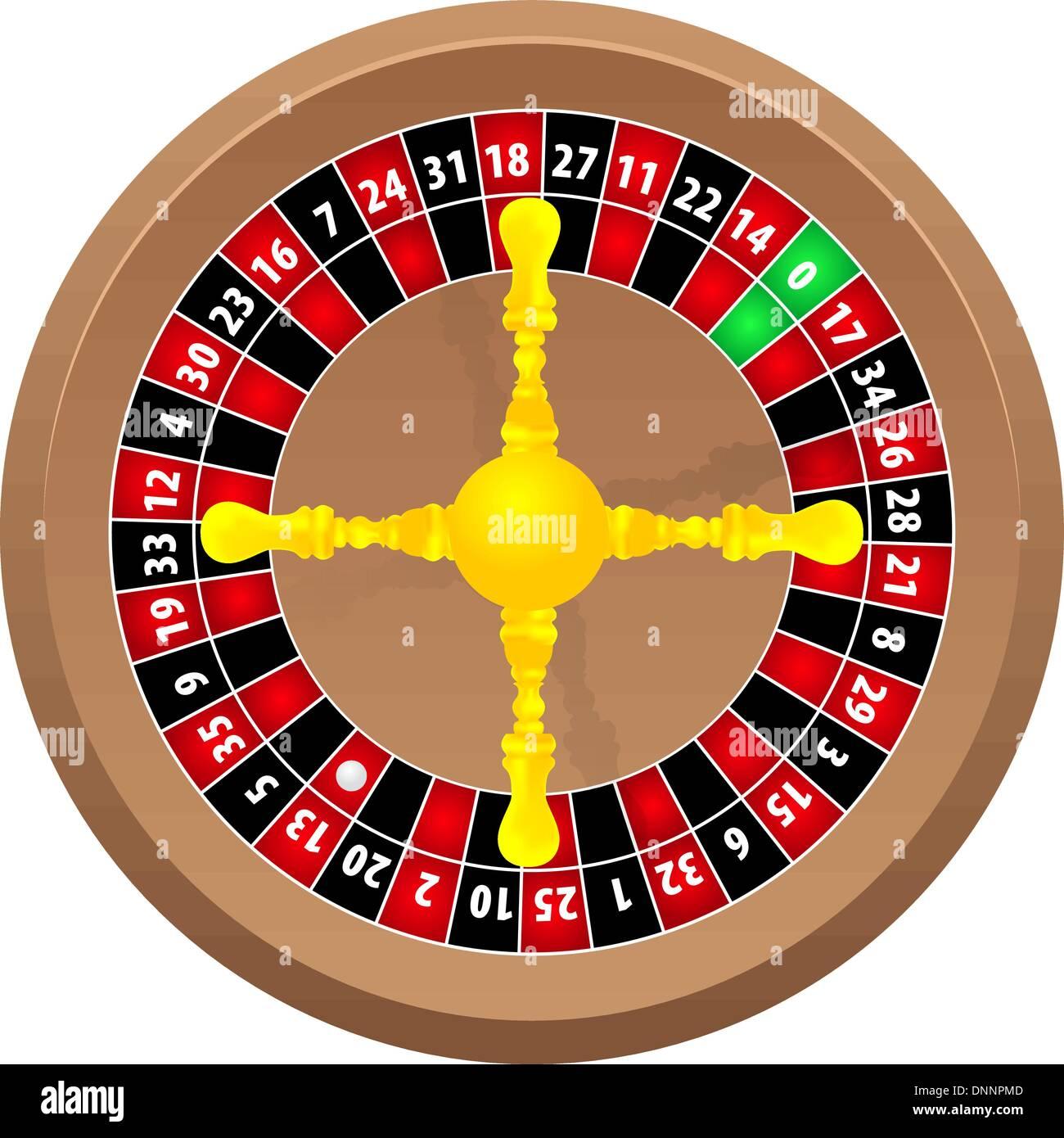 Roulette online Casino auf weißem Hintergrund, Vektor Stockbild