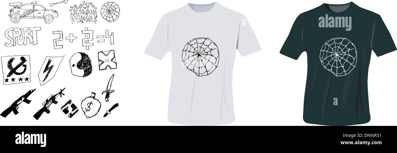 T-shirt-Design Vektor Vorlage mit Probe von Hand zeichnen drucken ...