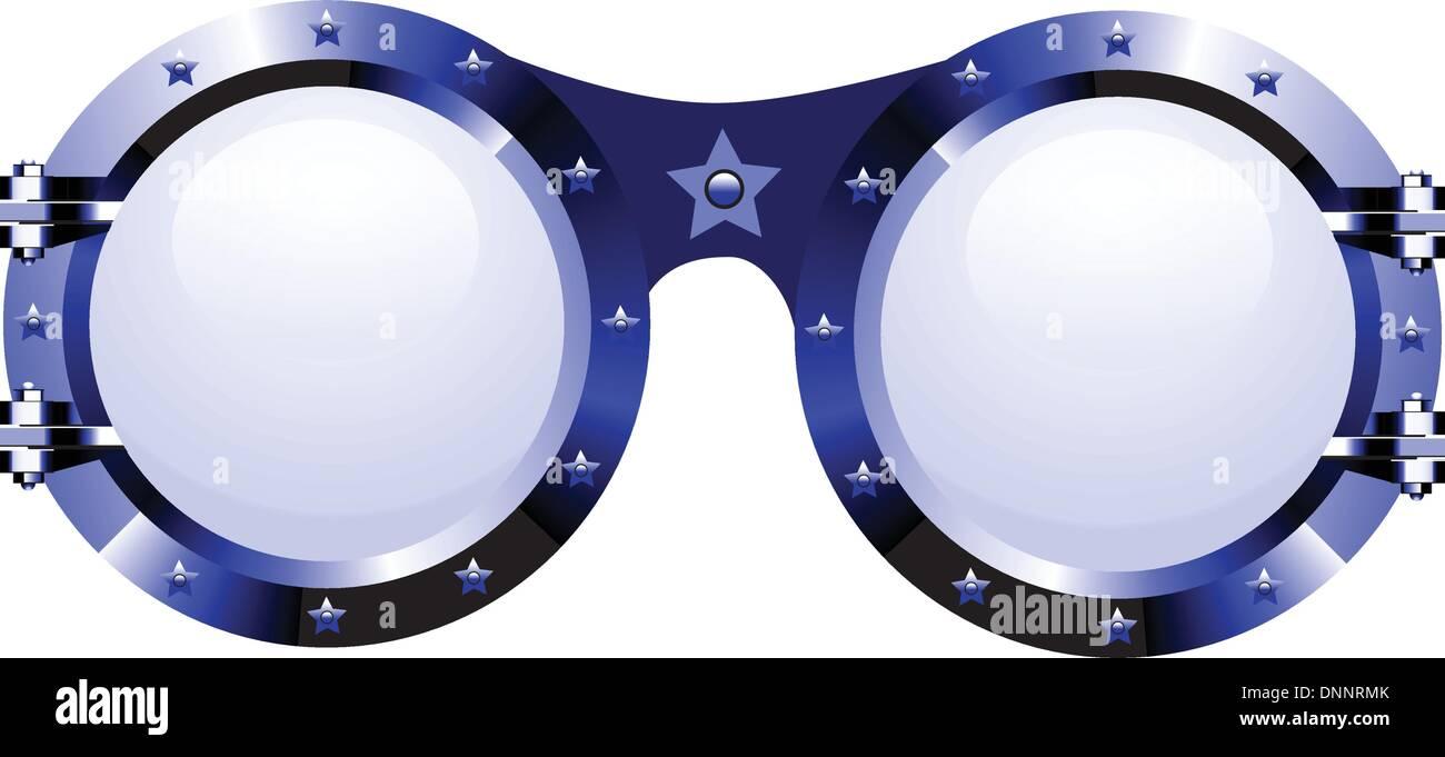 Sonnenbrille im Disco-Stil auf weiß Stockbild