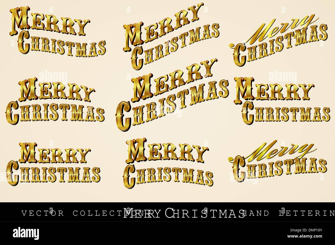 Vintage Victorian Frohe Weihnachten, handgezeichneten Schriften ...