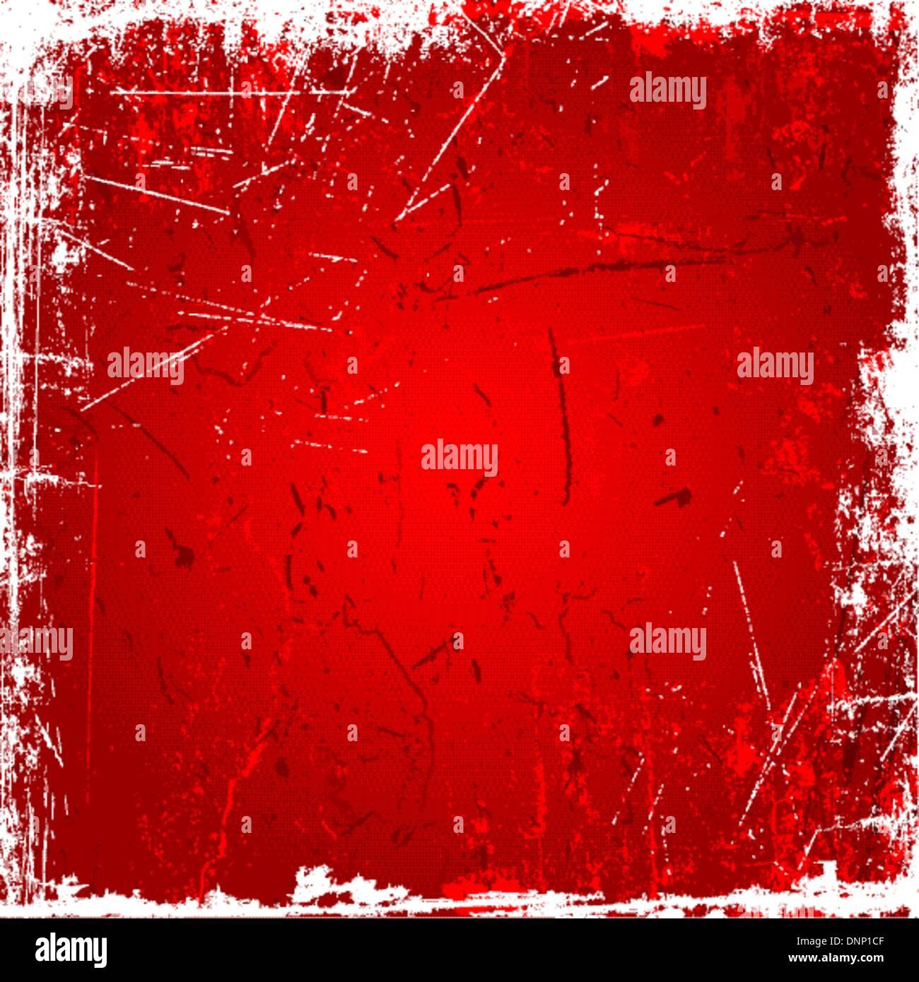 Grunge Hintergrund mit Kratzer und Flecken in Rottönen Stock Vektor