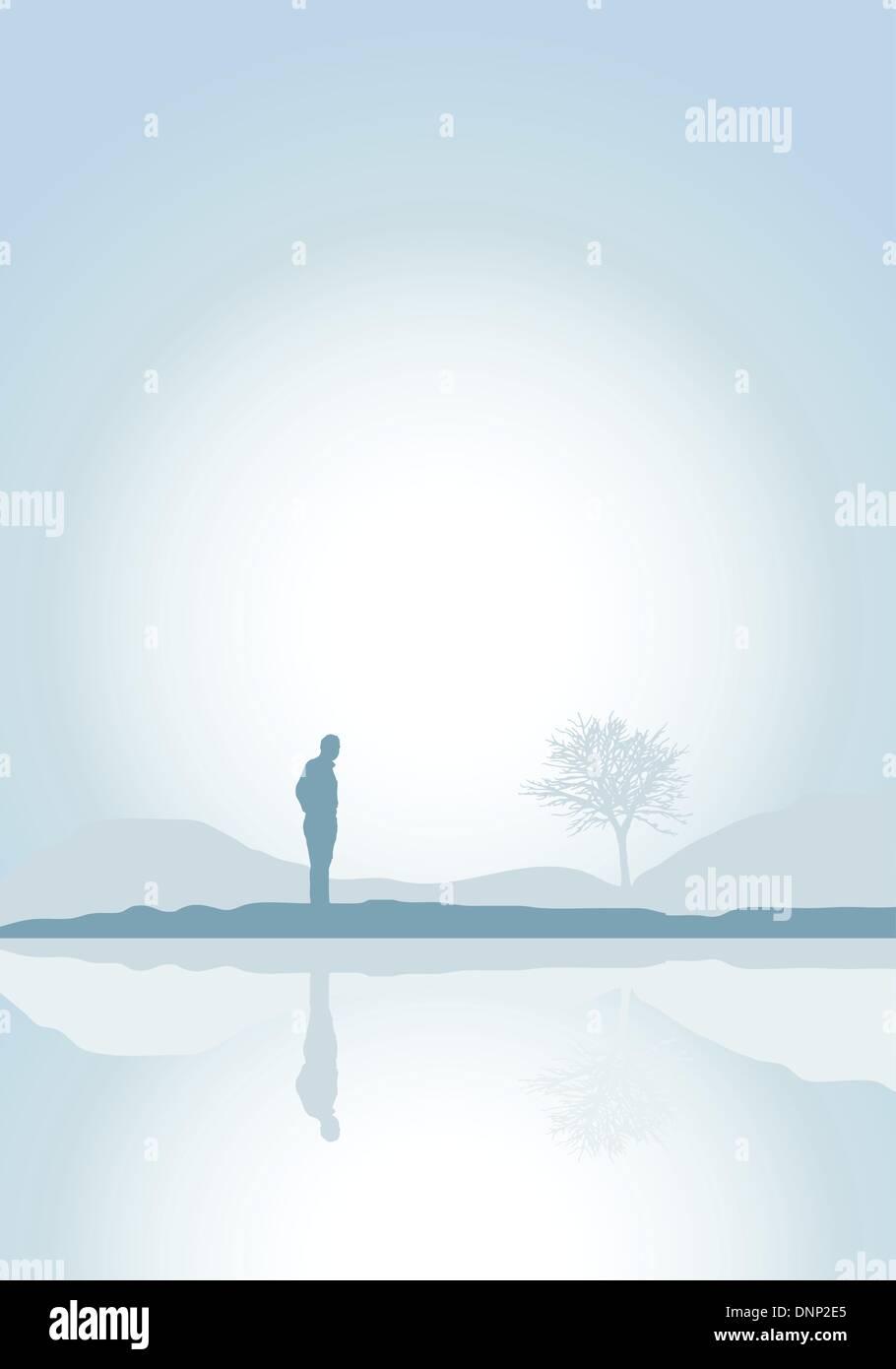 Silhouette eines einsamen Mannes an einem See Stockbild