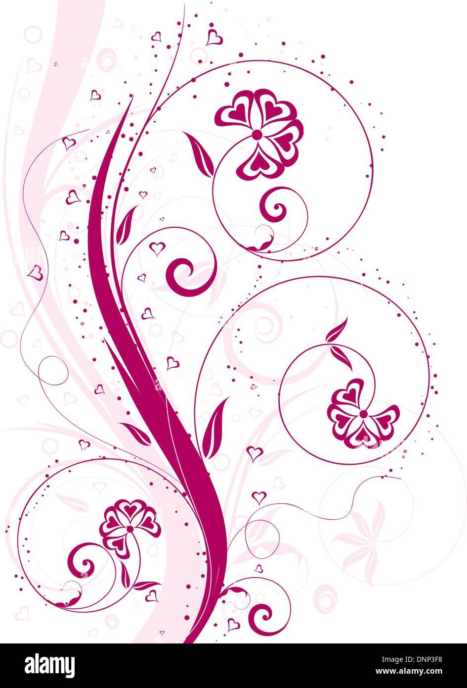Valentines Hintergrund mit herzförmigen Blüten Stockbild