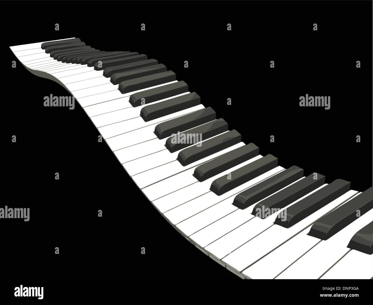 Wellig Klaviertasten Stockbild