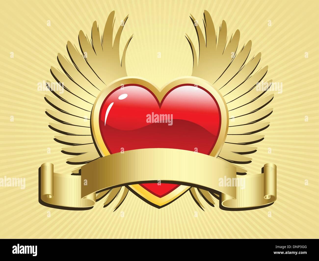Valentinstag Herz mit Flügeln und scroll Stockbild