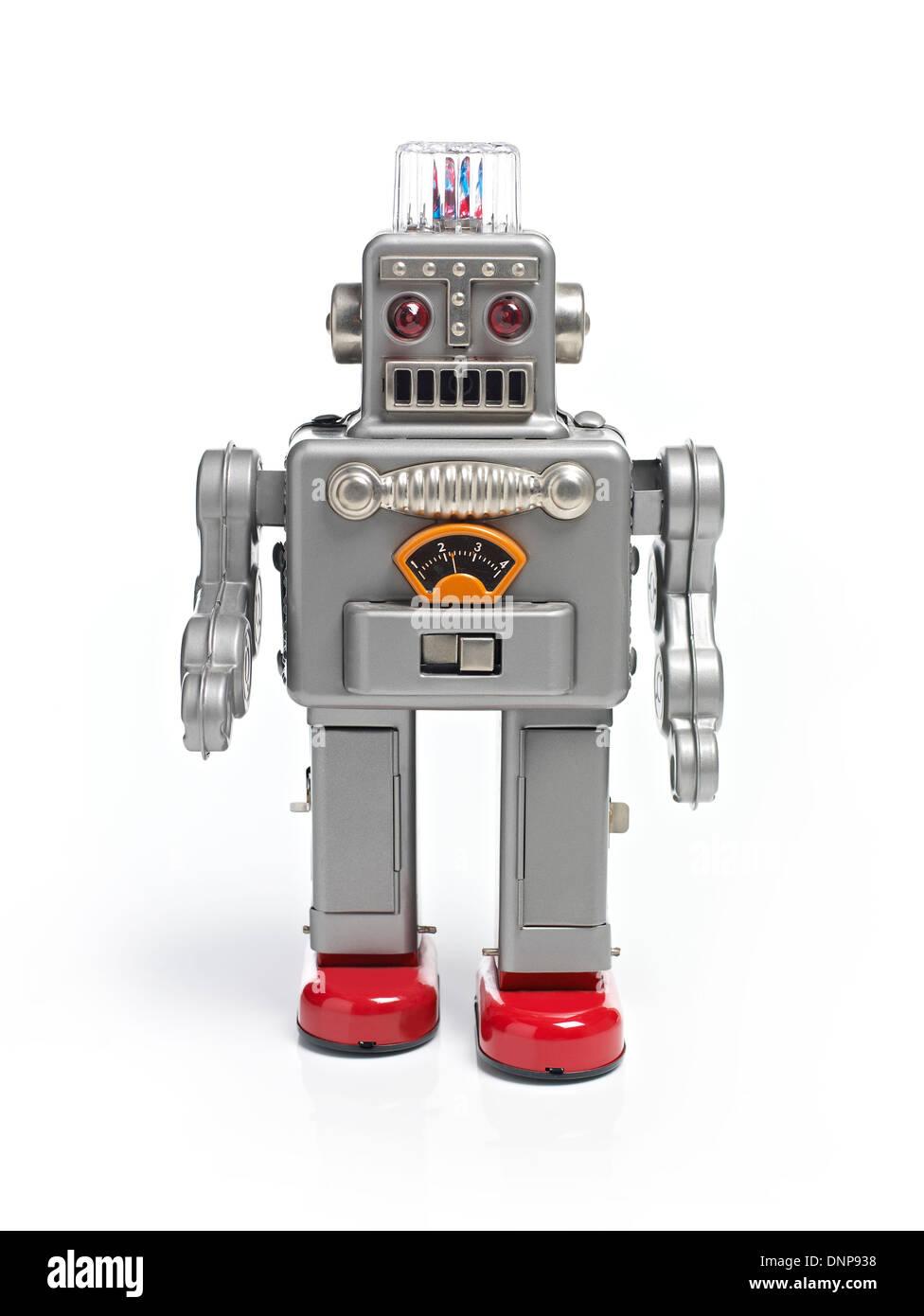 Fuß retro Spielzeugroboter Stockbild