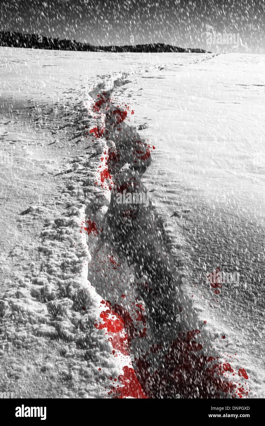 Eine blutige Spur führt durch tiefen Schnee in einem Schneesturm. Stockbild