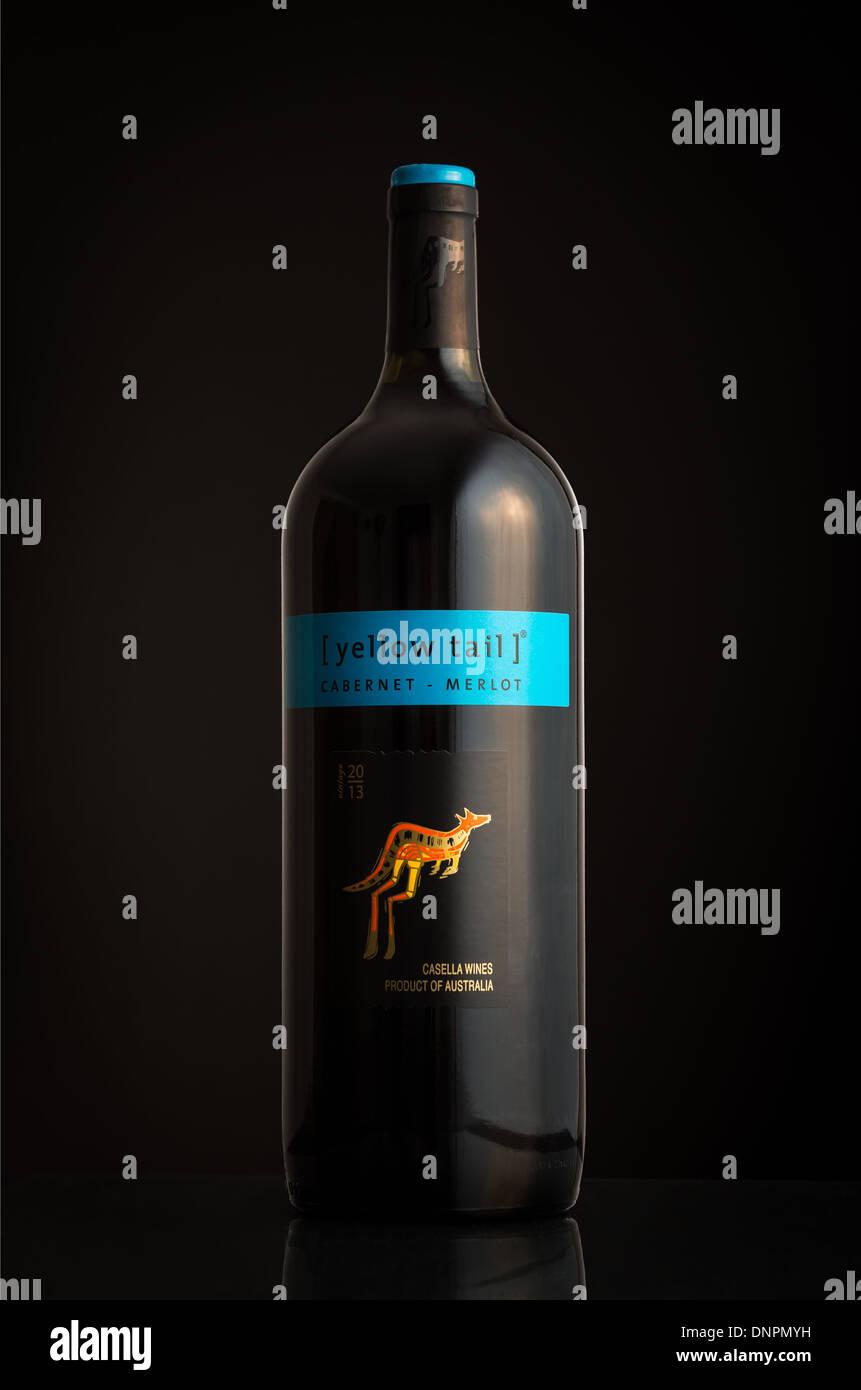 Flasche australischen Wein [yellow Tail] Stockbild