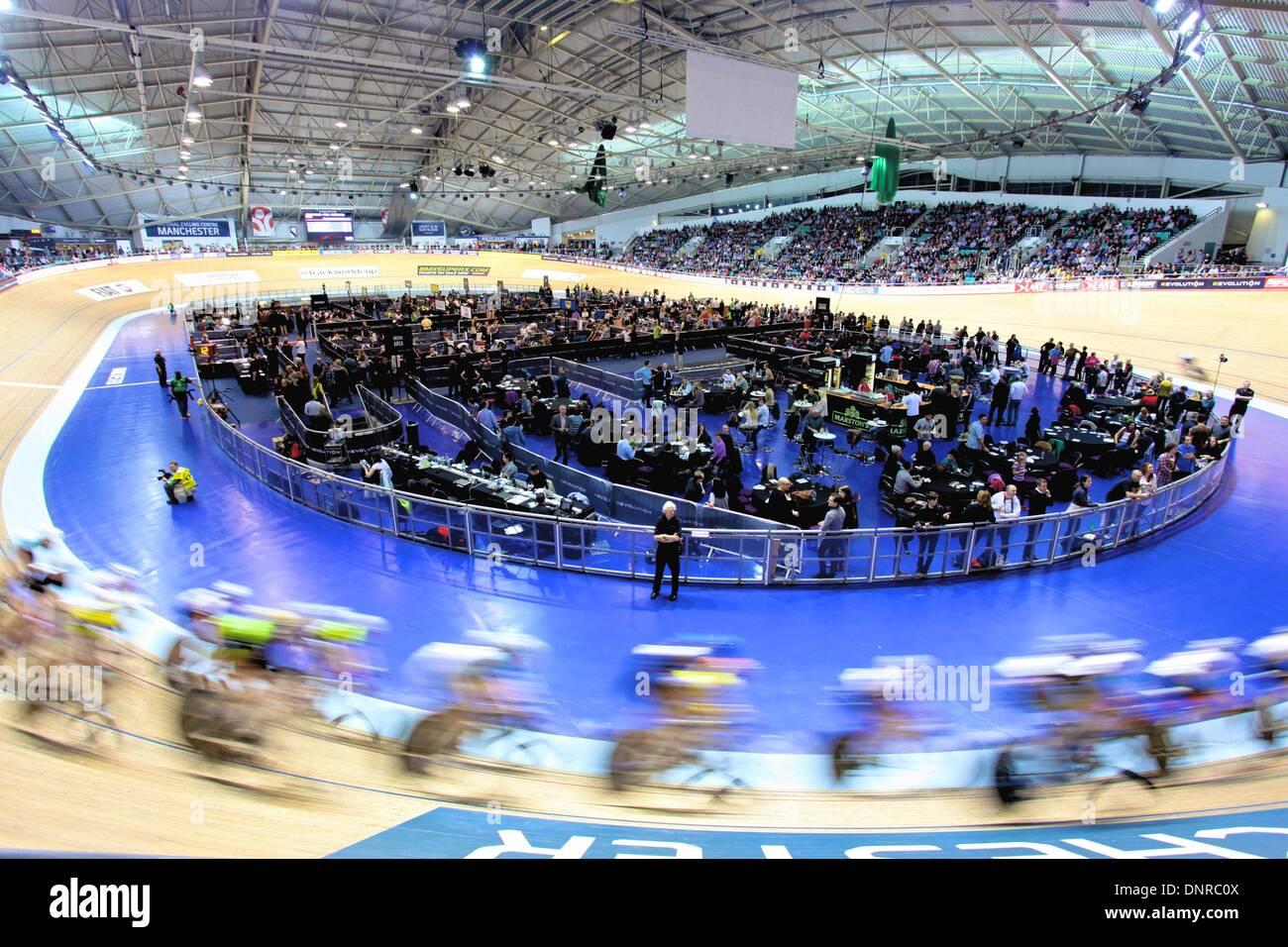 Manchester, UK. 4. Januar 2014. Revolution-Serie verfolgen Radsport Runde 3. Xxxxxx Credit: Neville Stile/Alamy Stockbild