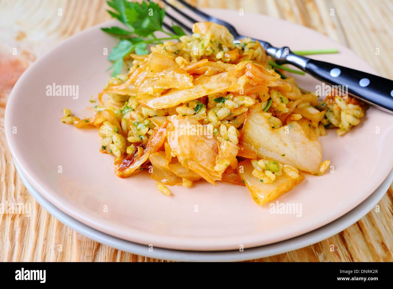 Italienische Risotto mit Kohl, Essen Nahaufnahme Stockbild