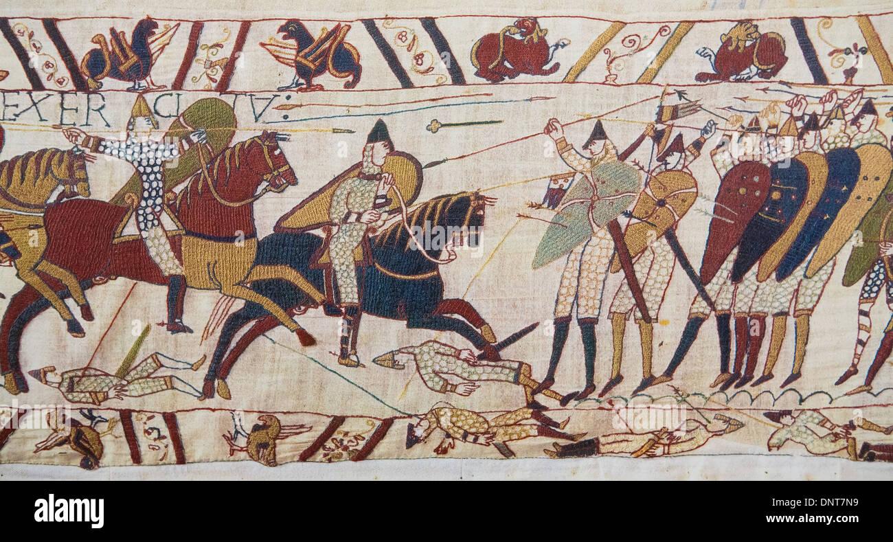 Detail von der Darstellung der normannischen Eroberung Englands im 11. Jahrhundert von Bayeux Stockbild