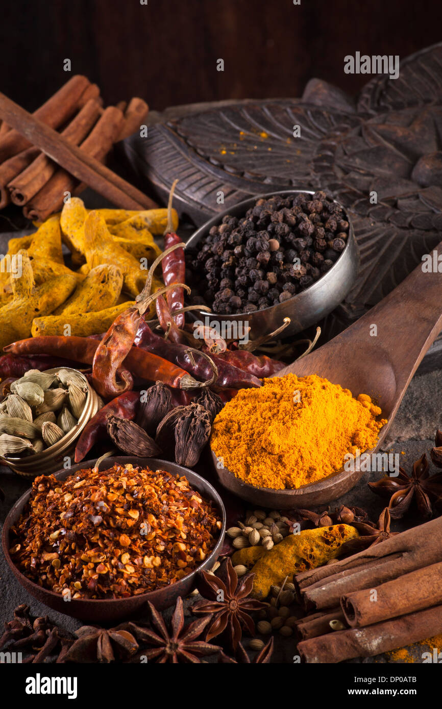 Indische Gewürze / Chili-Flocken, Kurkuma, Chili, Kardamom, Sternanis, schwarzer Pfeffer Stockbild