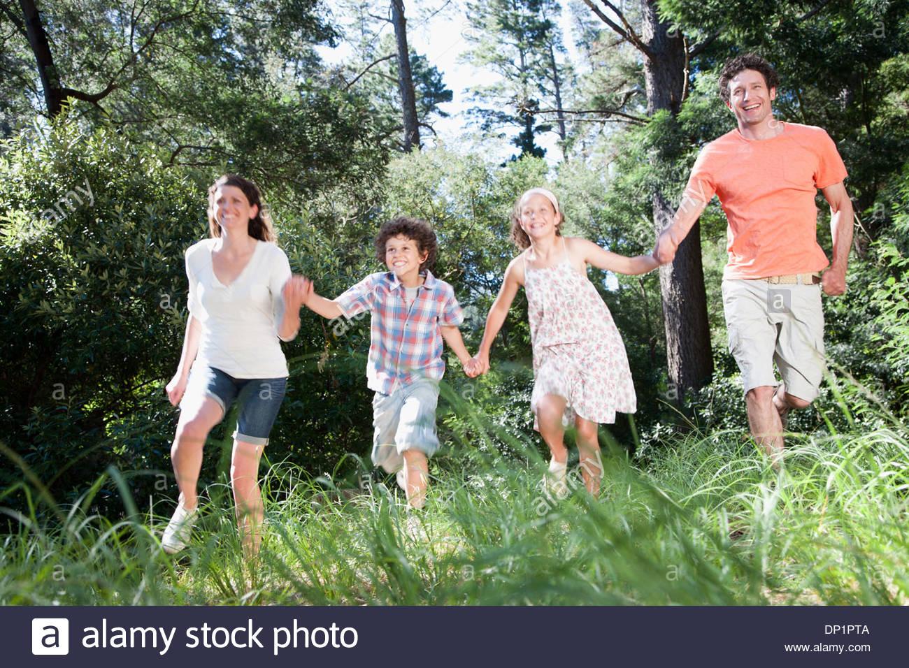 Familie Hand in Hand im Wald Stockbild