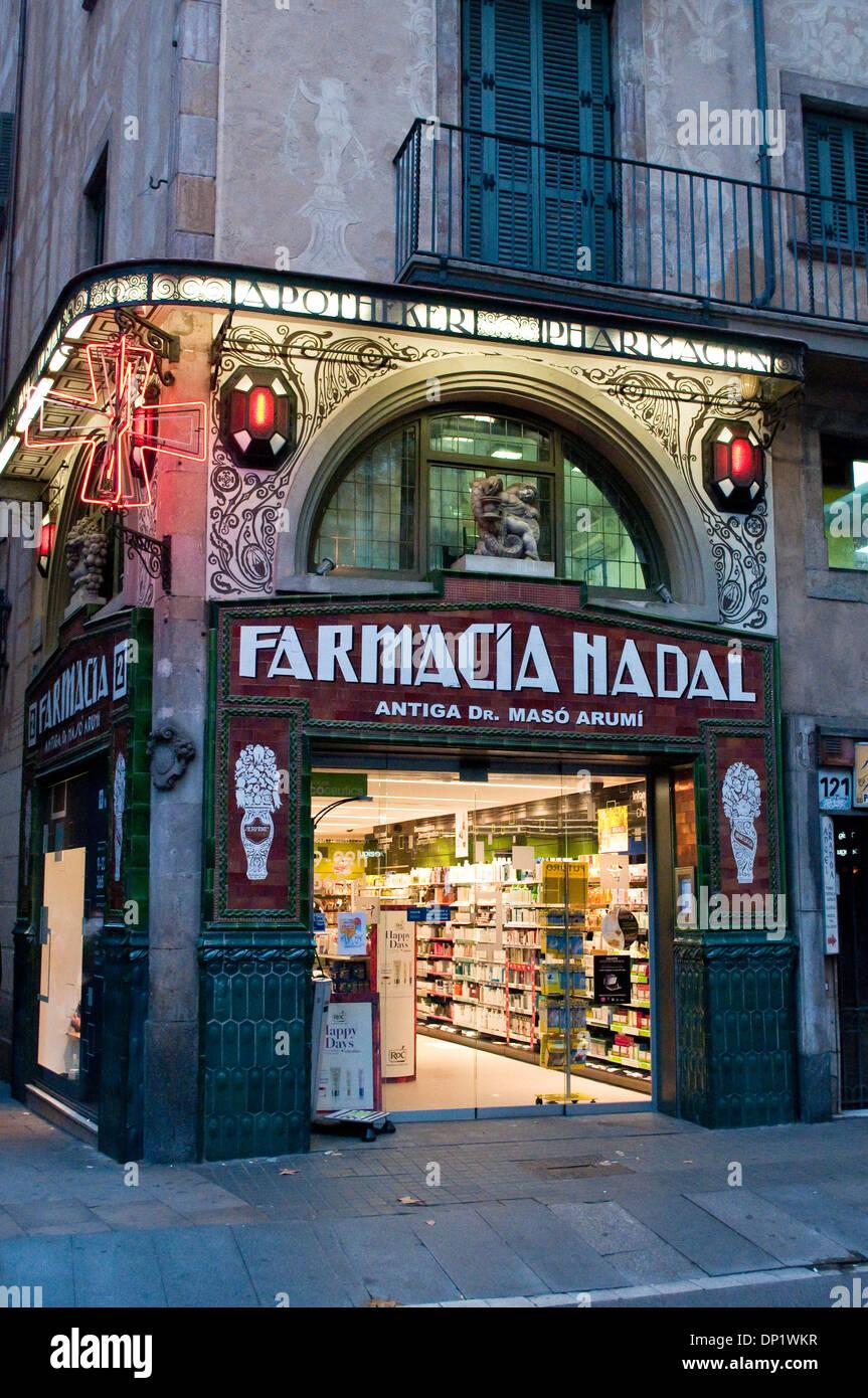 Farmacia Nadal, La Rambla, Barcelona, Katalonien, Spanien Stockbild