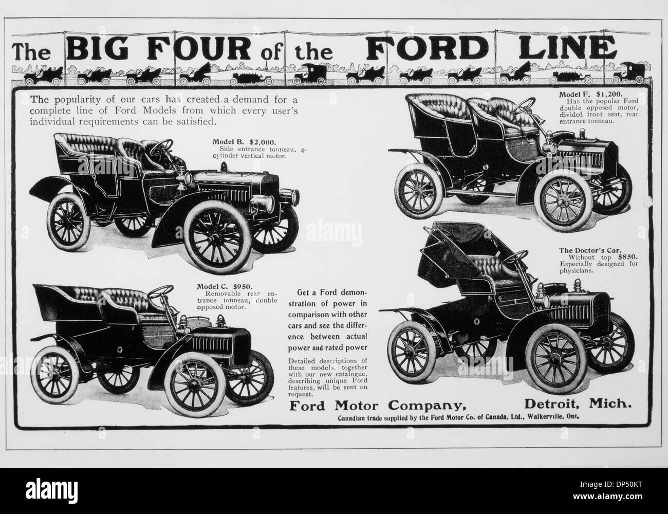 Ford Motor Company Vintage Werbung mit den großen vier Autos, ca. 1909 Stockbild