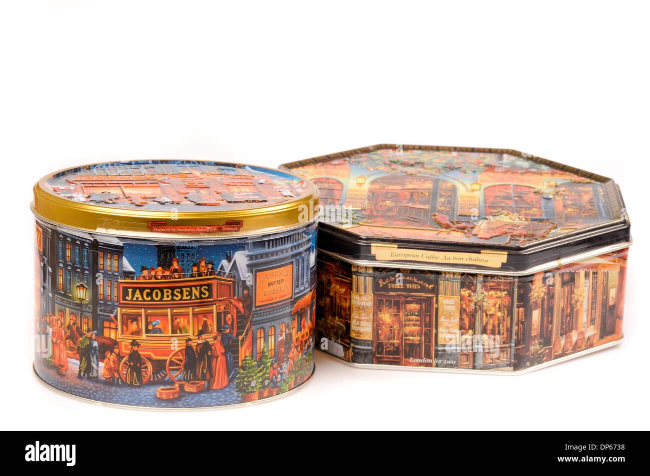 Retro-Zinn Keks-Boxen Stockbild