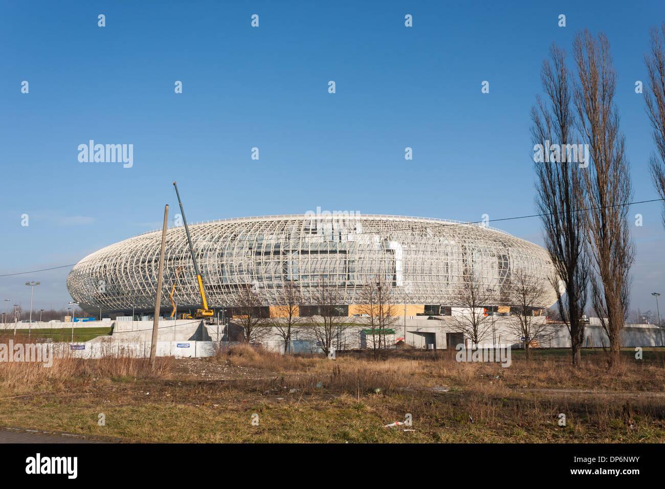 Neue Sporthalle 'Arena' in Krakau Czyzyny während der Bauphase Stockbild
