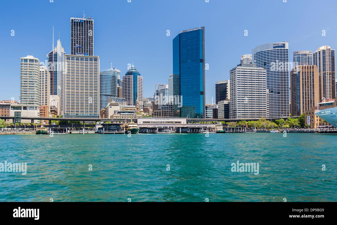 Zentraler Geschäftsbezirk und Fährhafen, Sydney, Australien Stockbild