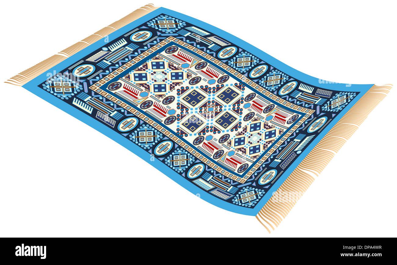 illustration einer blauen zauberteppich fliegender teppich aus 1001 nacht die verwendet. Black Bedroom Furniture Sets. Home Design Ideas