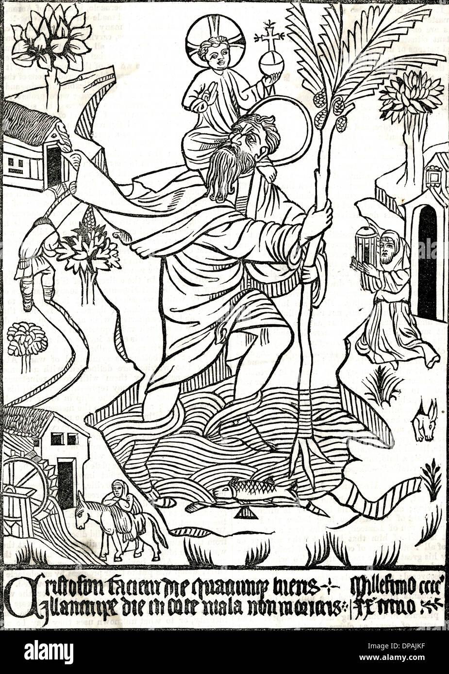 ST. CHRISTOPHER/HOLZSCHNITT Stockbild