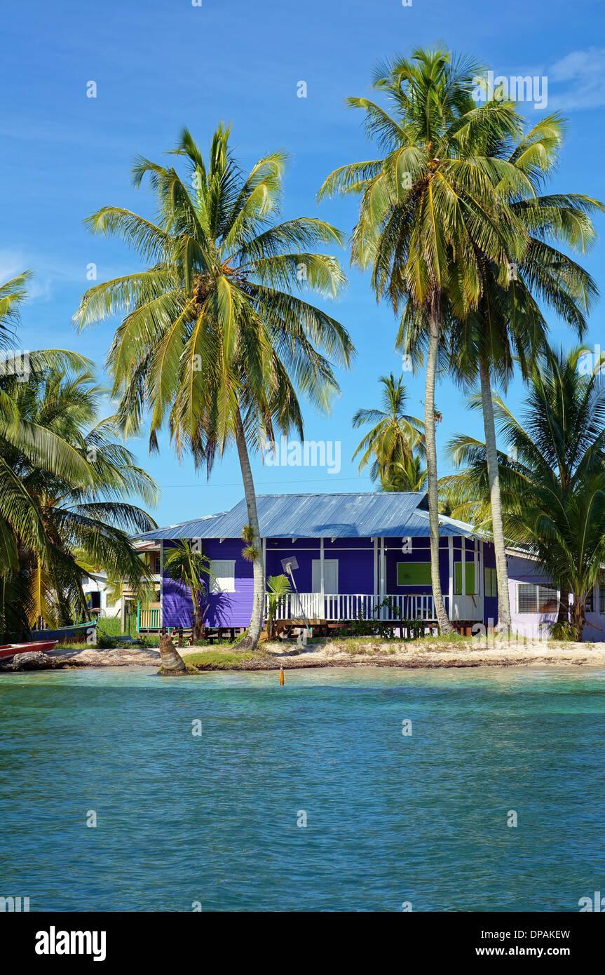 Ruhiger Strandhaus unter Kokospalmen, Karibik Stockbild