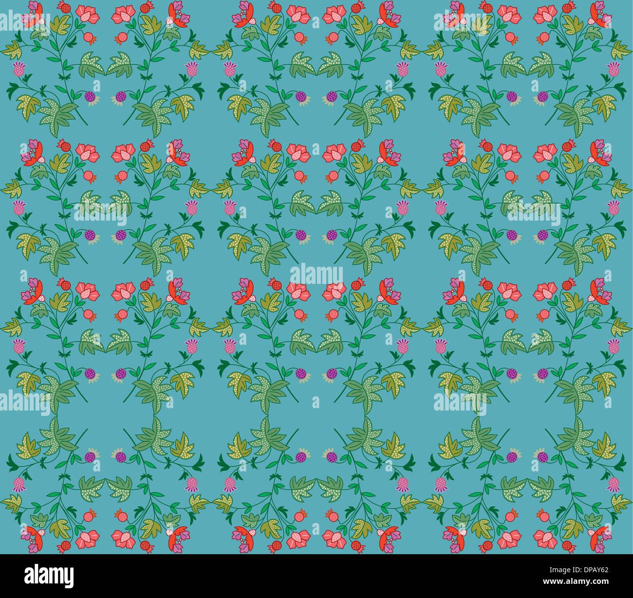 Blumenmuster auf blauem Hintergrund Stockbild