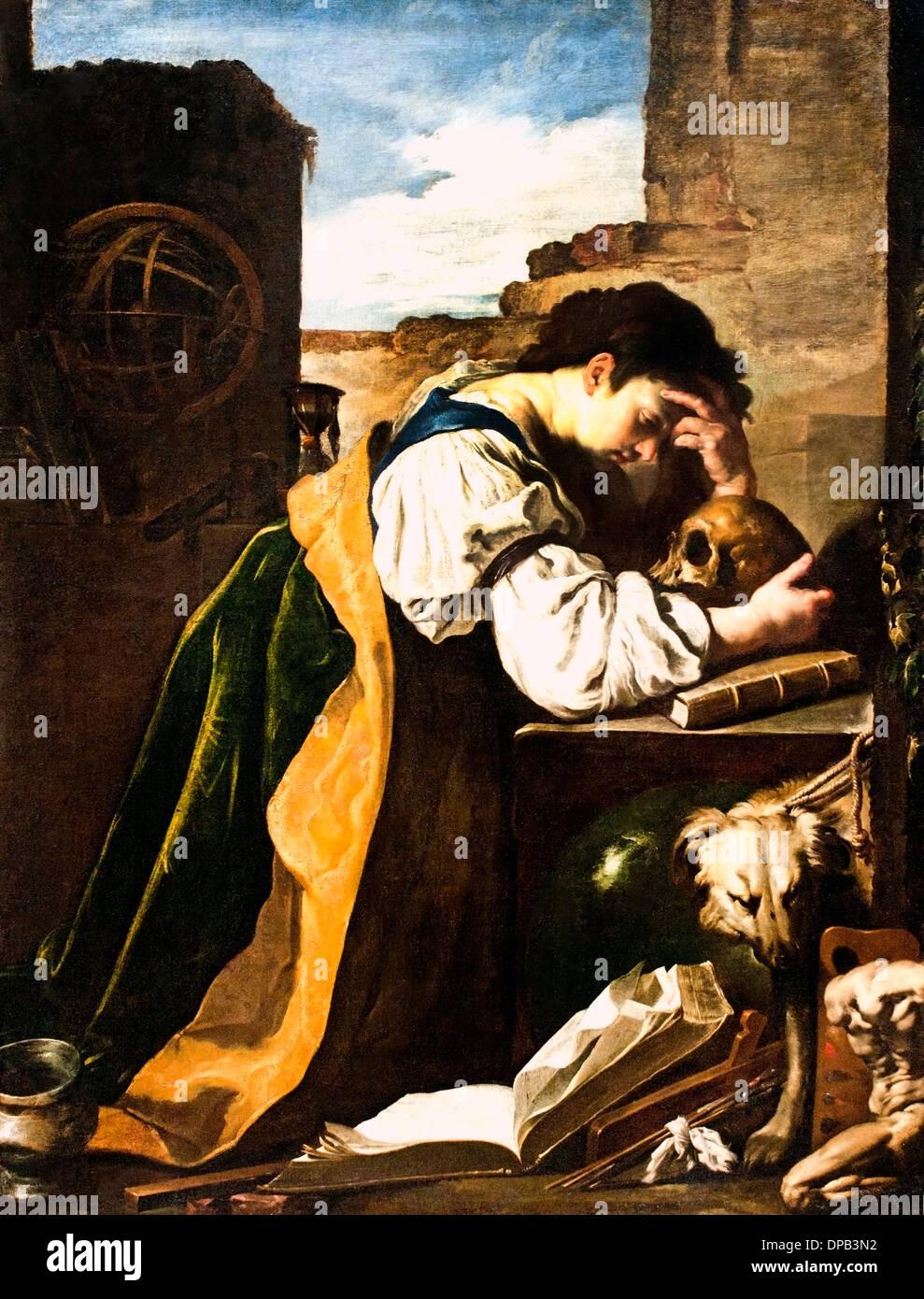 Melancholie 1618-1623 Domenico Fetti 1589 – 1623) Italien Italienisch Stockfoto