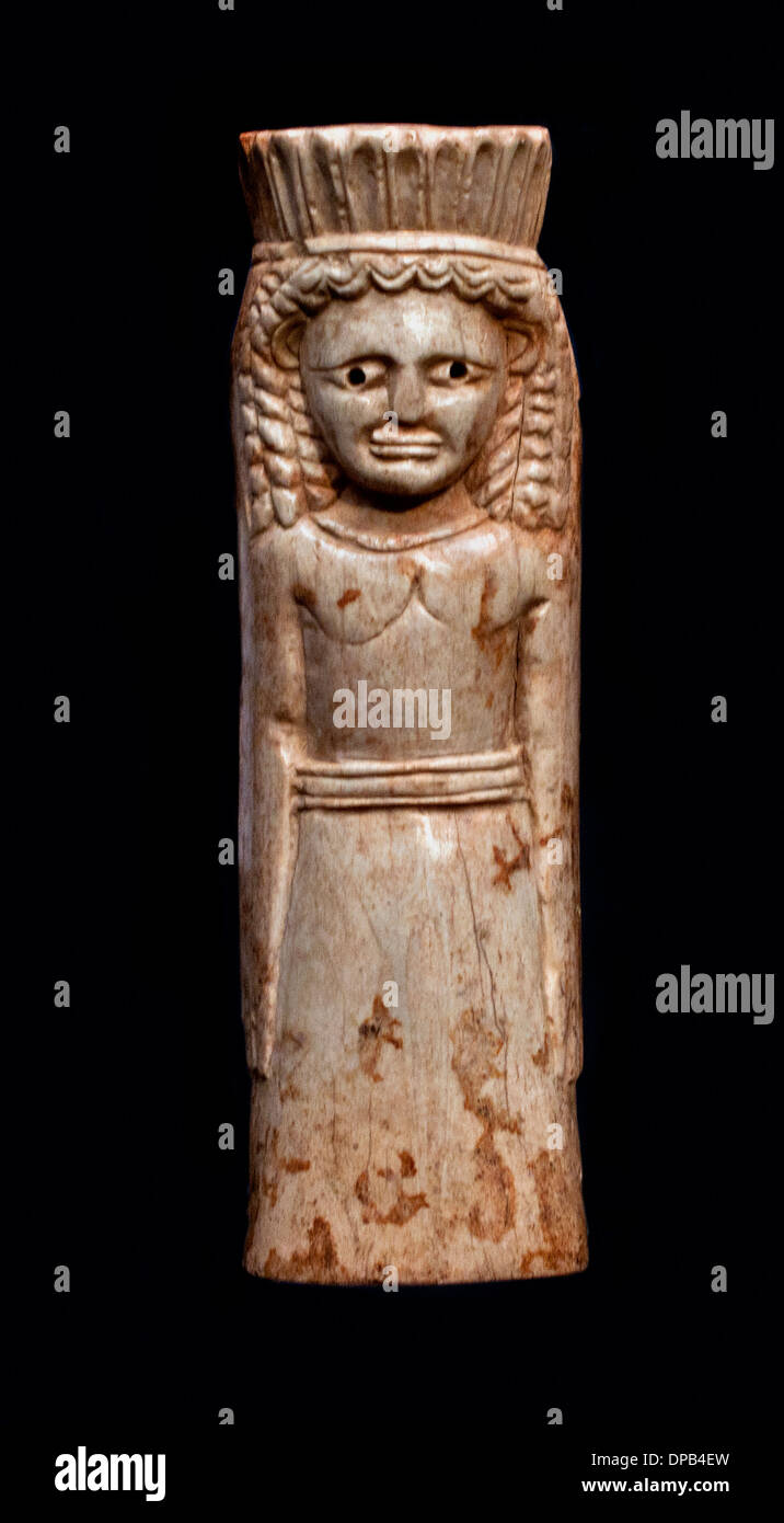 Artemis (Göttin der Jagd) Knochen Figur aus Sparta 650 v. Chr. Griechisch Griechenland Stockbild