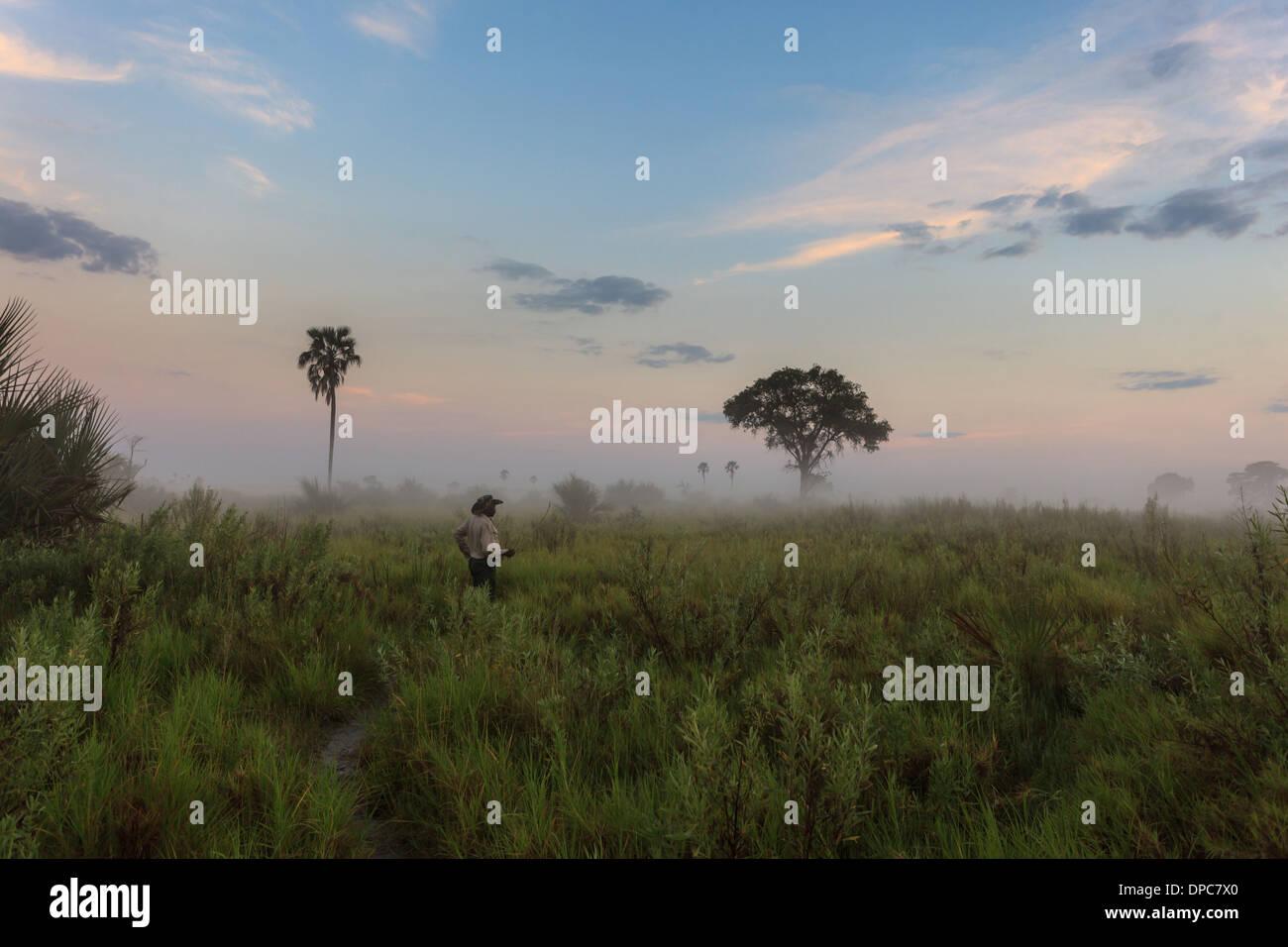 Safari Guide Studien Feuchtgebiete auf Anzeichen von Wildlife Touristen, Botswana, Afrika Stockbild