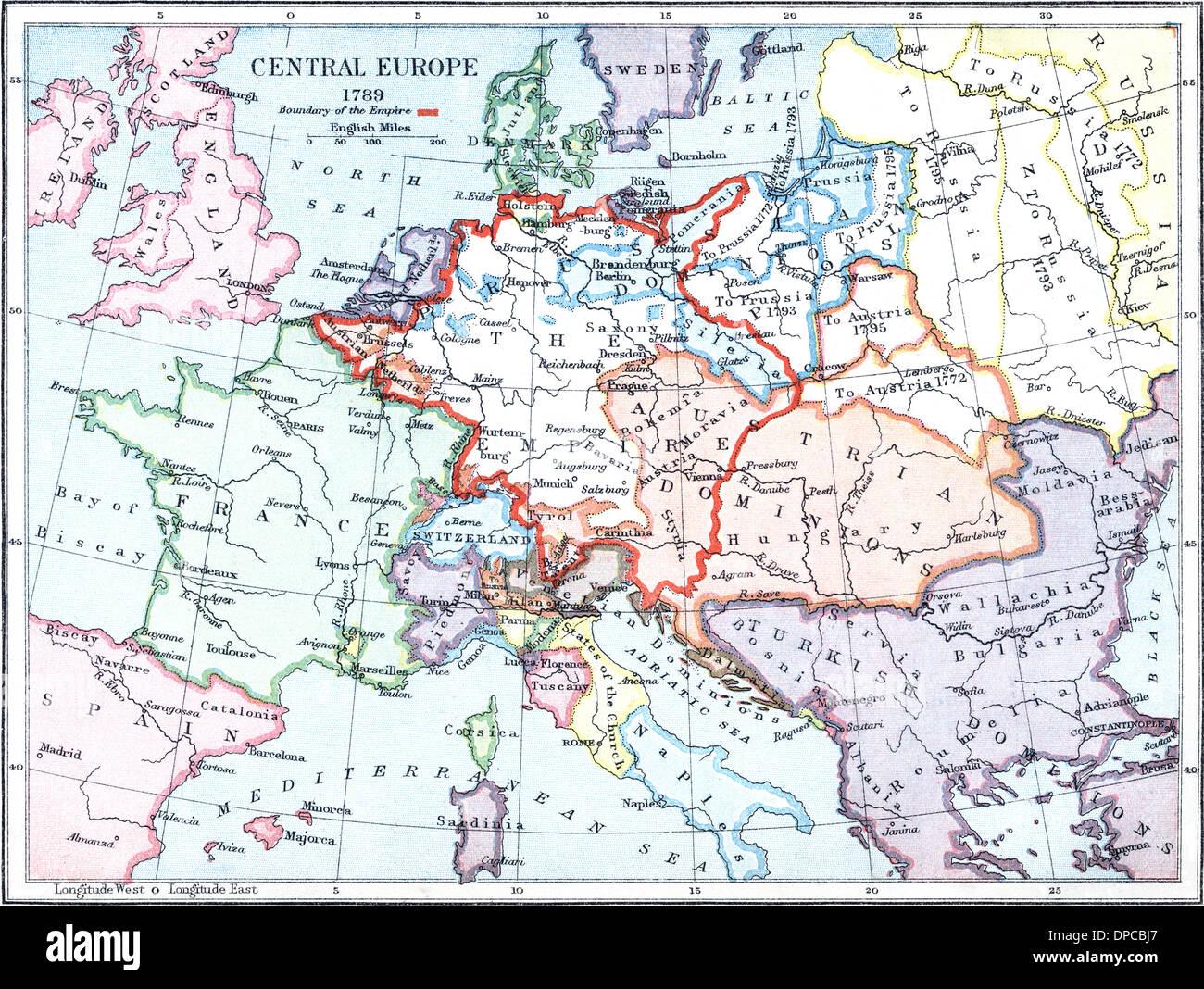 Karte Von Zentraleuropa 1789 Stockfoto Bild 65426095 Alamy