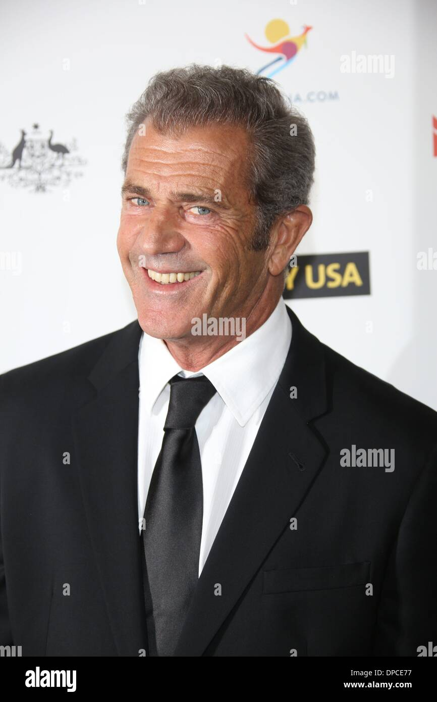 Los Angeles, USA. 11 Januar 2014.Actor Mel Gibson besucht die 2014 G'Day USA Los Angeles schwarze Krawatte Gala im JW Marriott Hotel in L.A. LIVE in Los Angeles, USA, am 11. Januar 2014. Bildnachweis: Dpa picture Alliance/Alamy Live News Stockbild