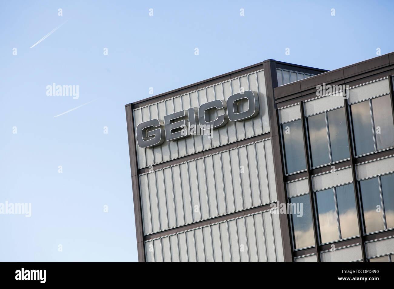 Die zentrale GEICO, auch bekannt als der Regierung Angestellten Versicherung in Chevy Chase, Maryland. Stockbild