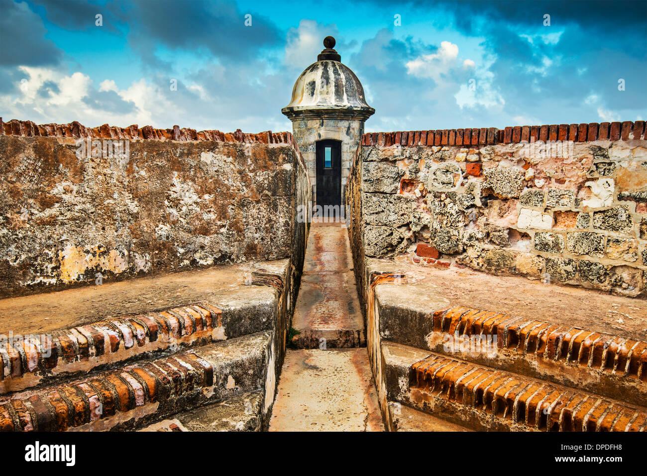 San Juan, Puerto Rico Küste am Fort San Felipe Del Morro. Stockbild