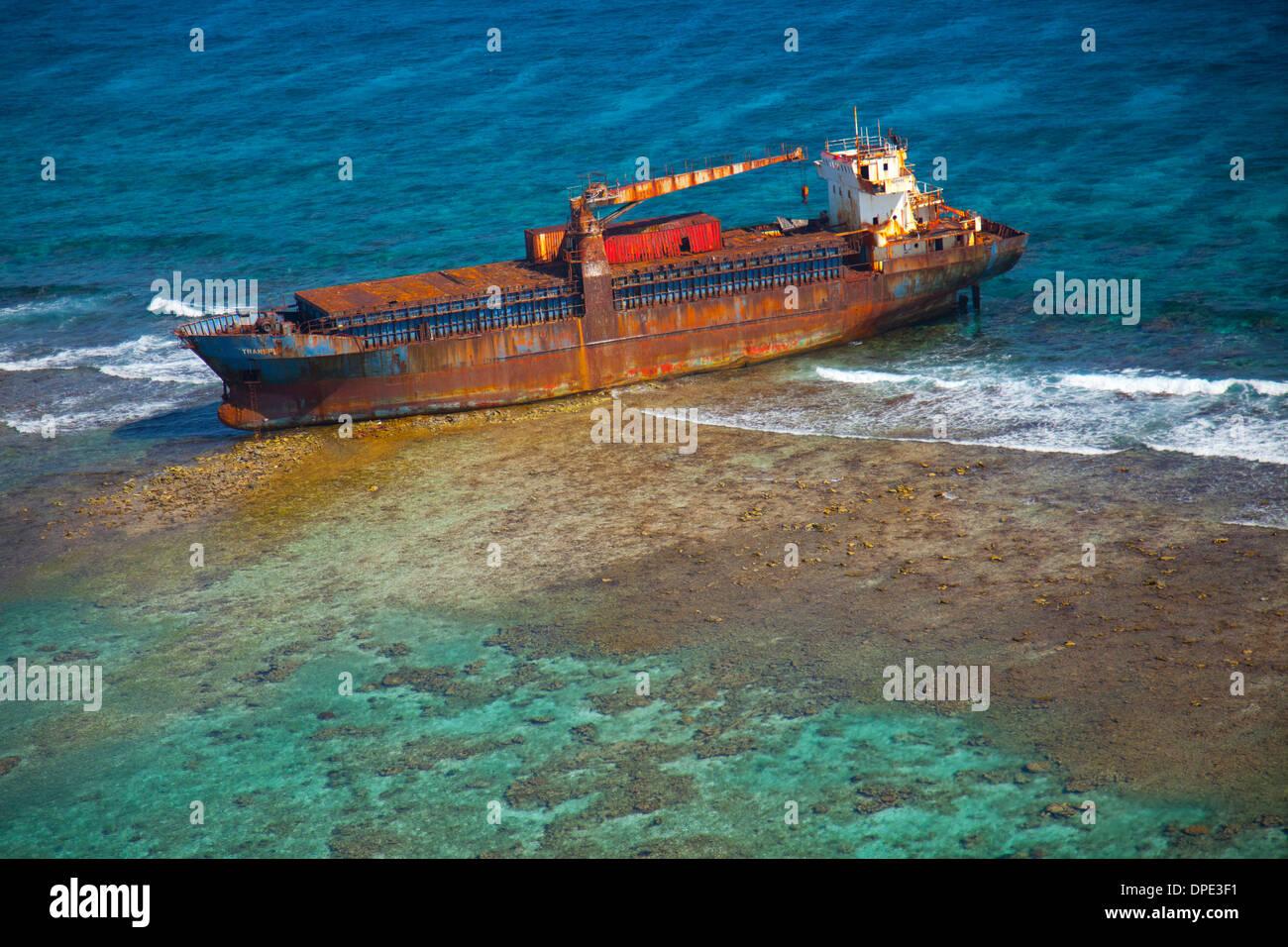 Schiffbruch am Riff Belize Karibik Meso amerikanischen Reef Reserve Lighthouse Reef Atoll größte Riff in der westlichen Hemisphäre Stockbild