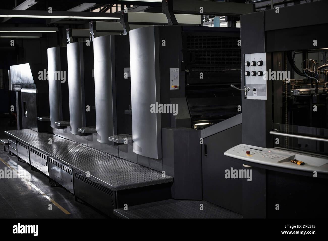 Hallo Tech Druckmaschinen in Druckwerkstatt Stockfoto