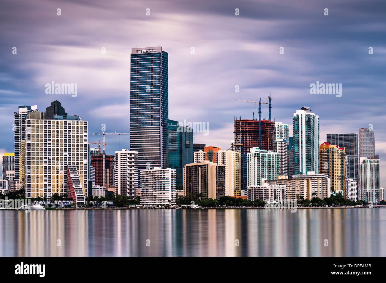 Skyline von Miami, Florida, USA. Stockbild