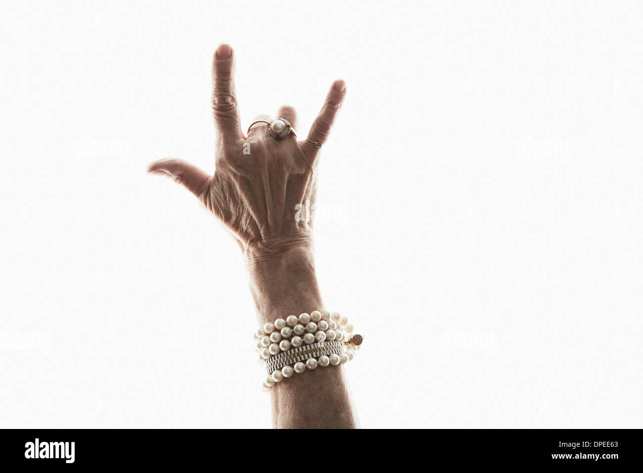 Studioaufnahme von Reife Frau Hand Geste Stockbild