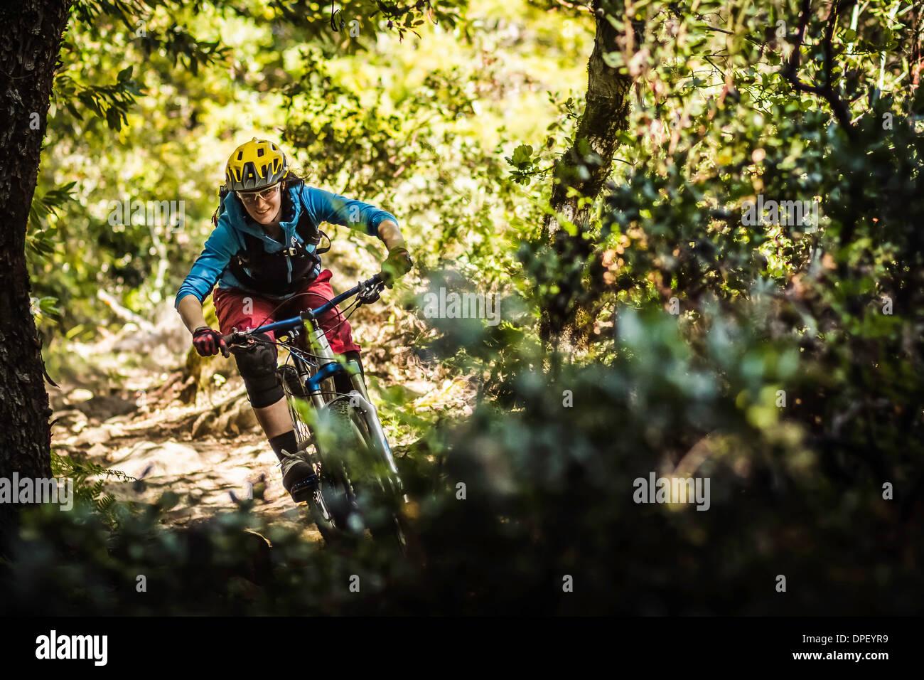 Junge Frau Mountainbiken, Soquel Demonstration State Forest, Santa Cruz, Kalifornien, USA Stockbild