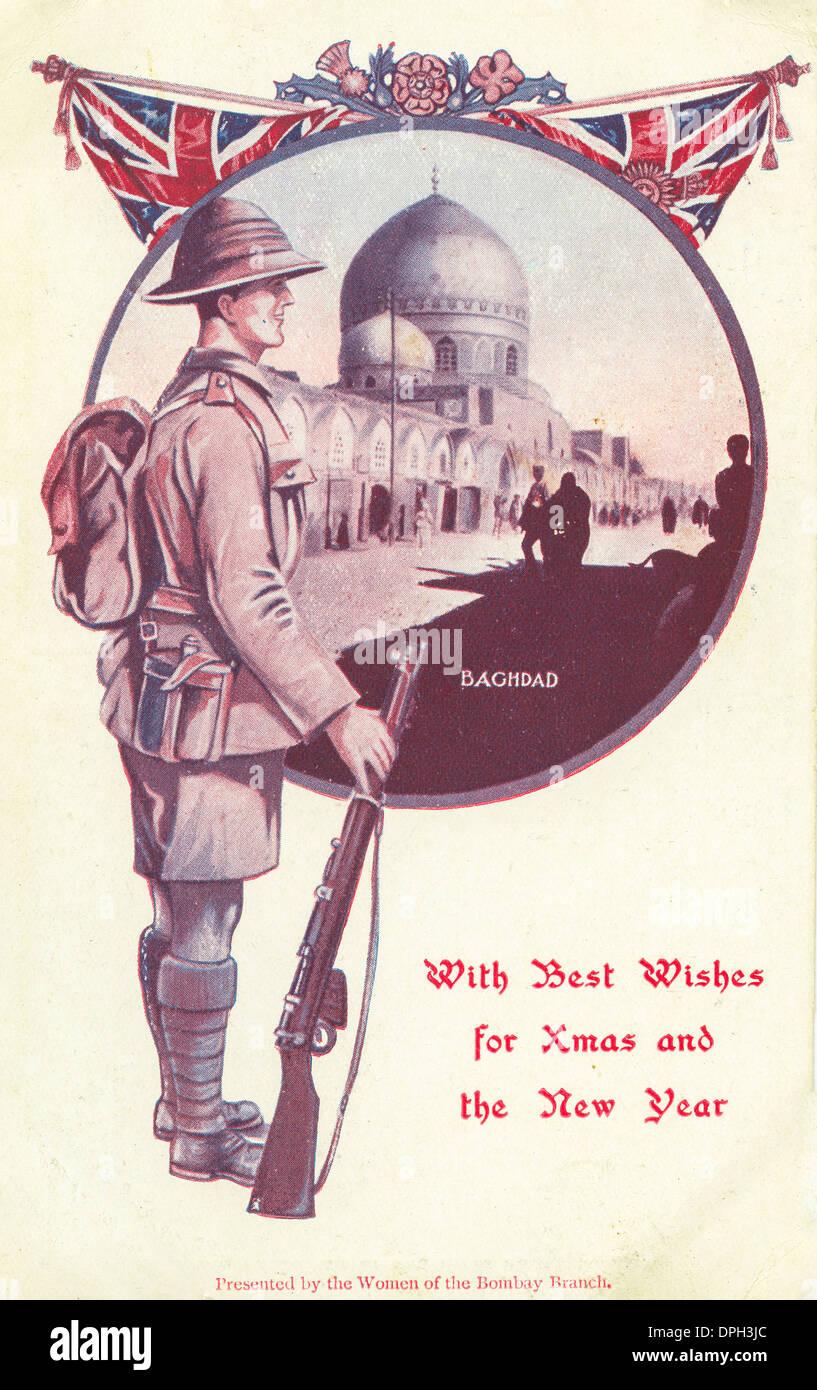 1. Weltkrieg Weihnachts Postkarte aus Bagdad durch eine Portion ...