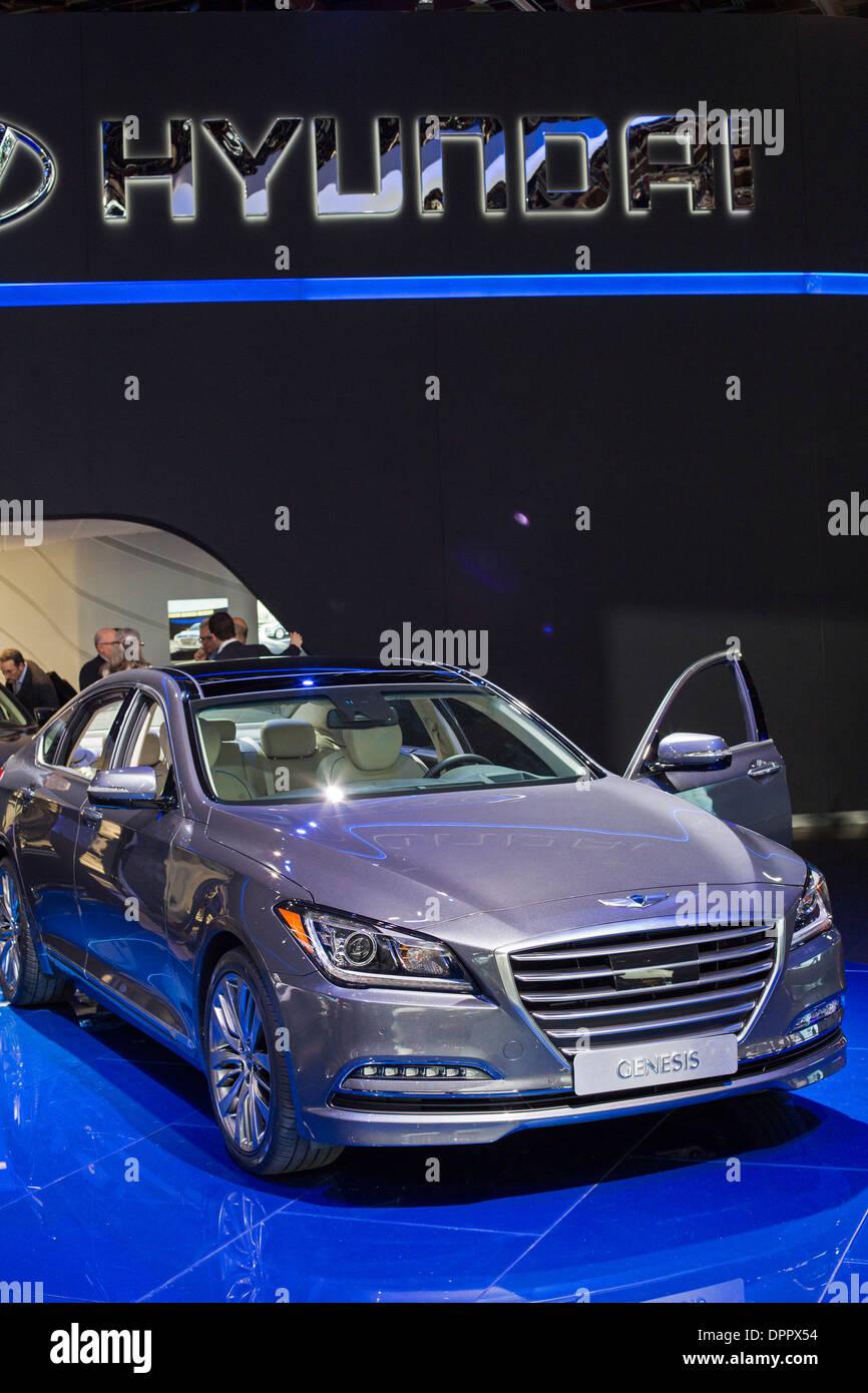 Detroit, Michigan - der Hyundai Genesis auf dem Display auf der North American International Auto Show. Stockbild