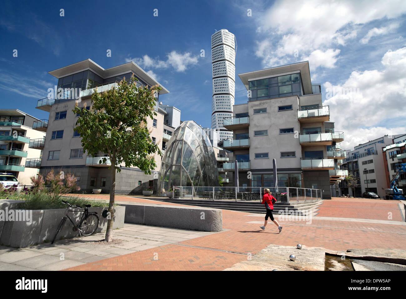 Bestandteil der meist kostenlosen Verkehrszentrum des Vastra Hamnen, einem neuen nachhaltigen Vorort von Malmö, Schweden. Stockbild