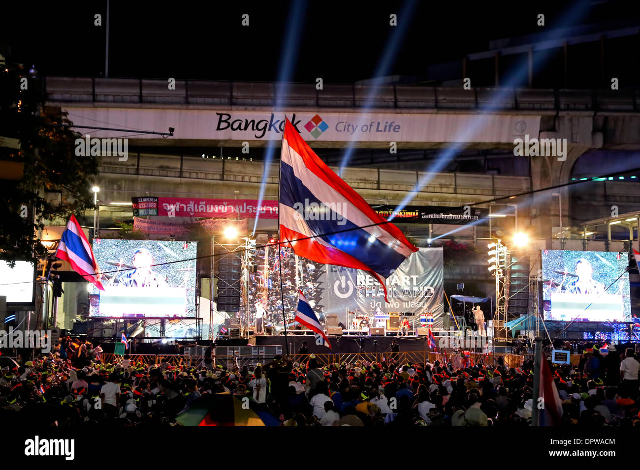 Bangkok-Shutdown Proteste 2014 Stockbild