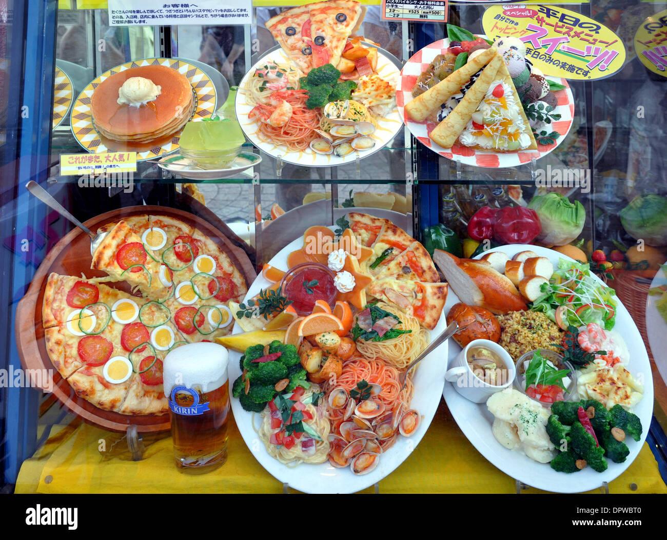 Fenster Essen essen in einem restaurant fenster in takeshita dori