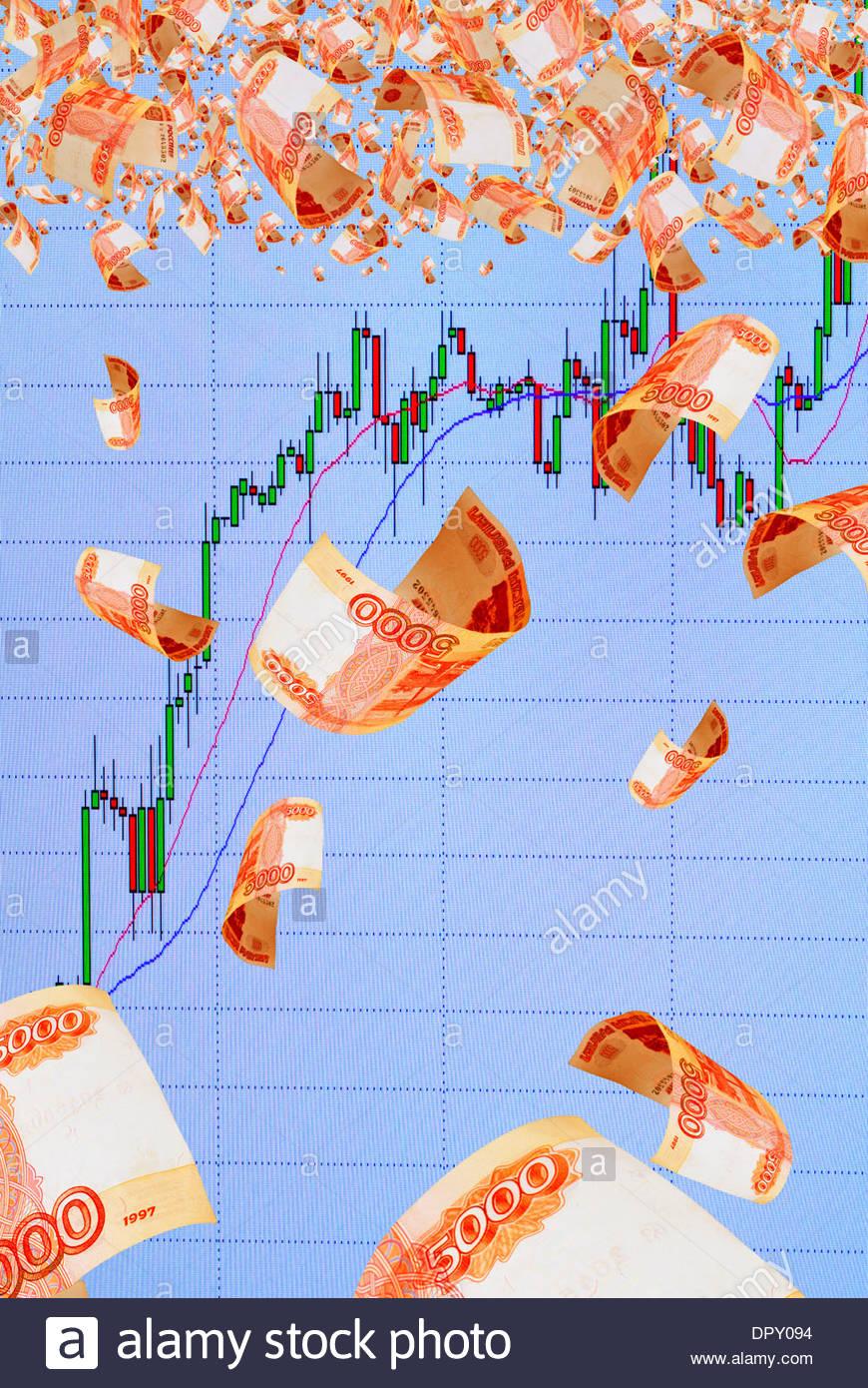 Stärkung der russischen Währung Rubel. Stockbild