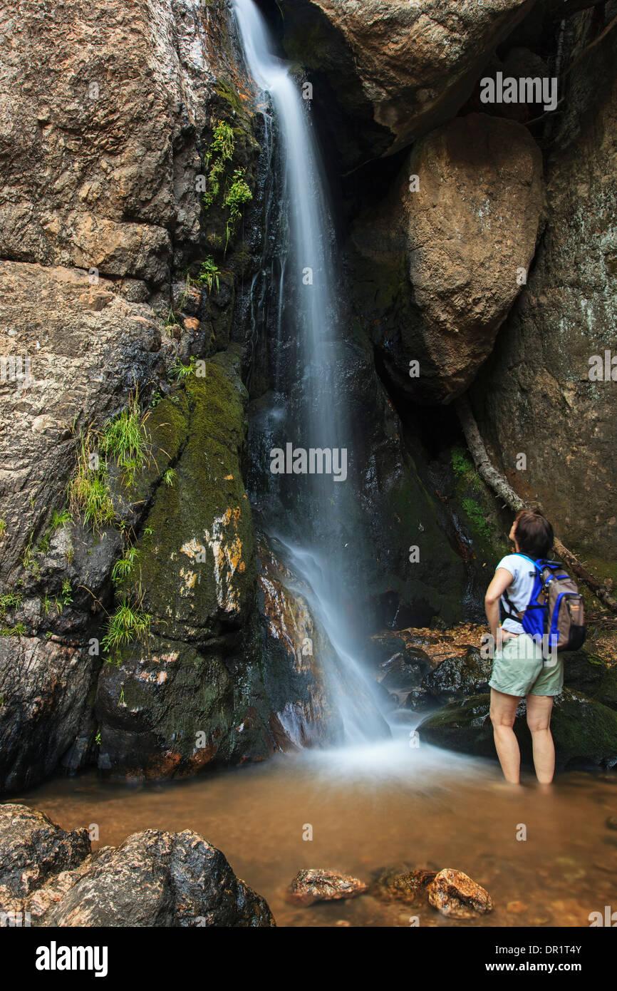 Wanderer bewundern, Wasserfall, En Medio Fluss Santa Fe National Forest, New Mexico, USA Stockbild