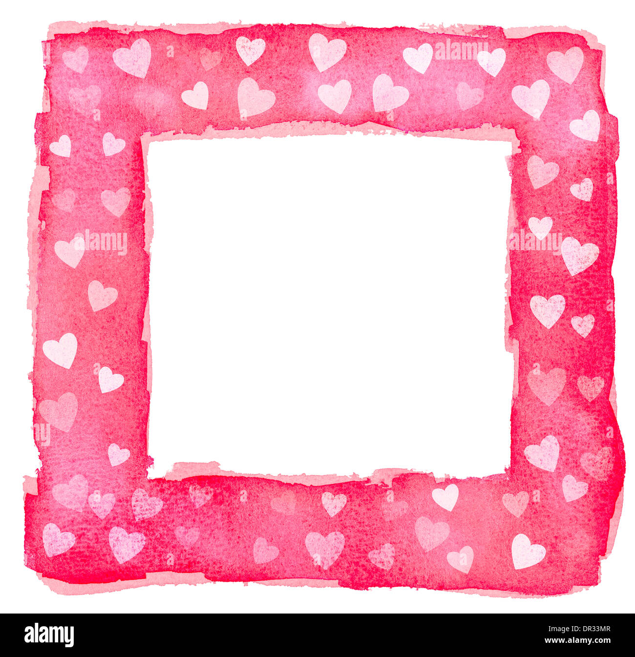 Abstrakt rot rosa und weißes Aquarell Herzen Quadrat-Frame-Rahmen ...