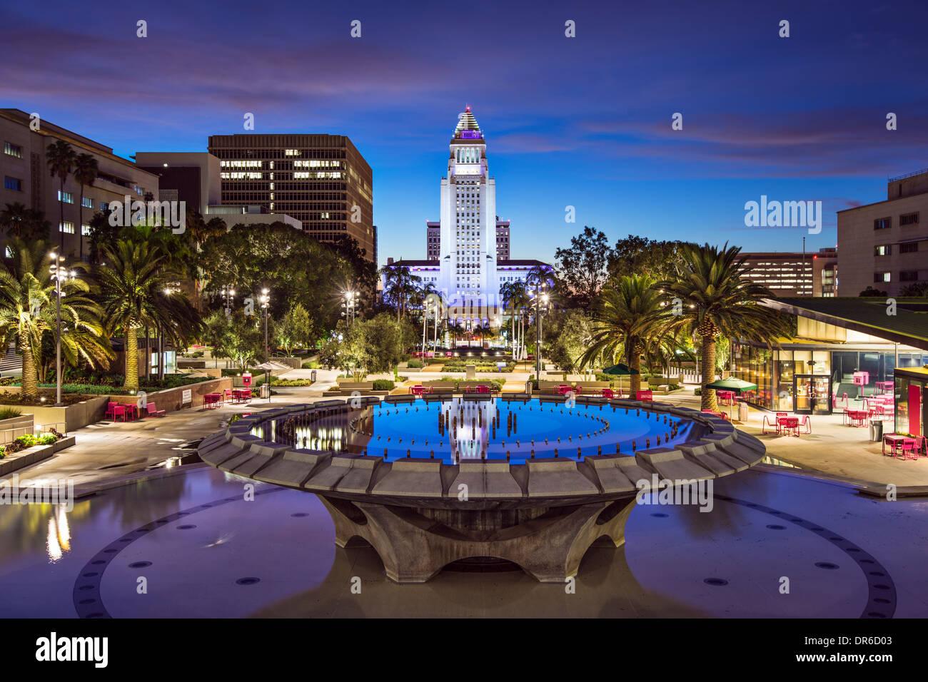 Los Angeles, Kalifornien am Rathaus. Stockbild