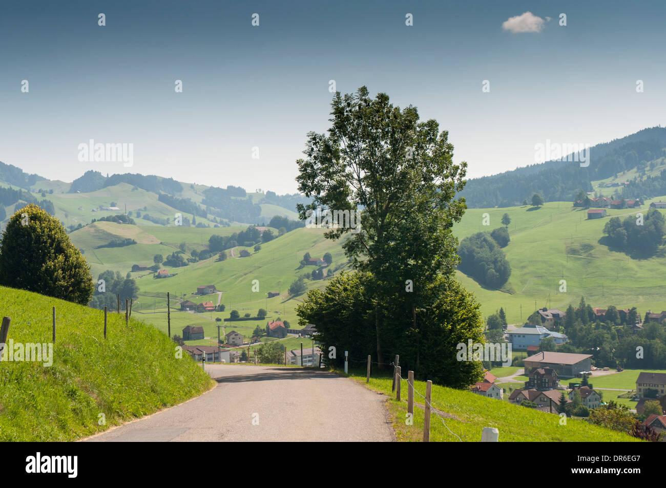 Radweg an der nationalen Radweg 4 (Alpenpanorama Route) zwischen Urnäsch und Bächli (Appenzeller Land) in den Schweizer Alpen Stockbild