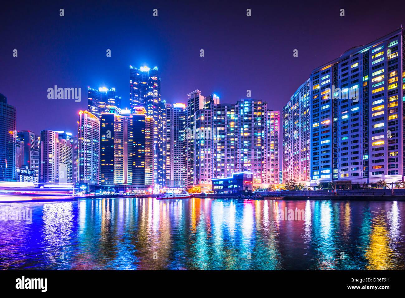 Skyline von Busan, Südkorea bei Haeundae Bezirk. Stockbild